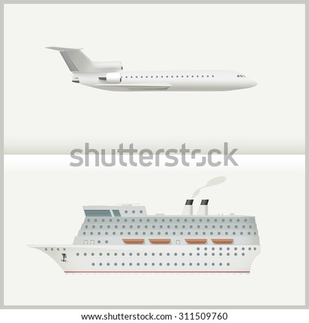 Traveling transport illustration with a large passenger cruise ship and a flying plane. Raster version - stock photo