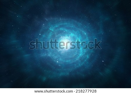 Traveling trough space and time, intergalactic exploration - Interstellar - stock photo
