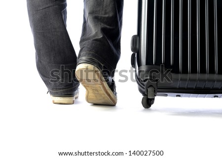 Traveling with carrier case - stock photo