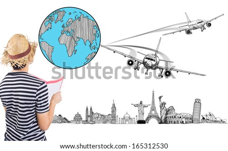 Traveller planning to travel around the world with Aircraft concept  - stock photo