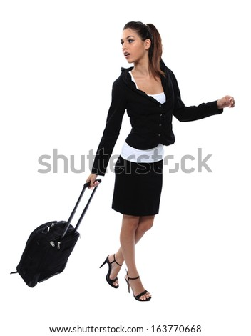 travelling business girl with luggage