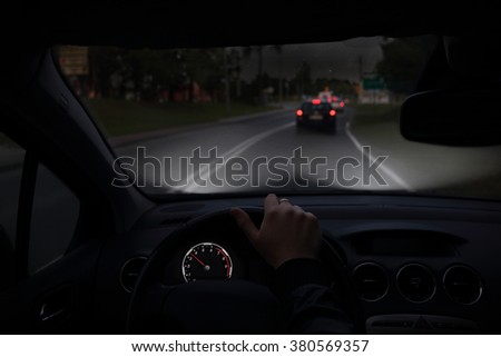 Travelling by car at night