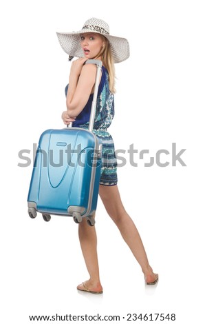Travelling concept with person and luggage