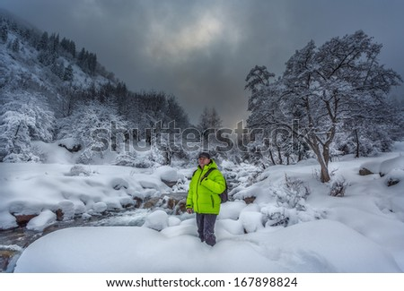 Travelling on a winter mountain river