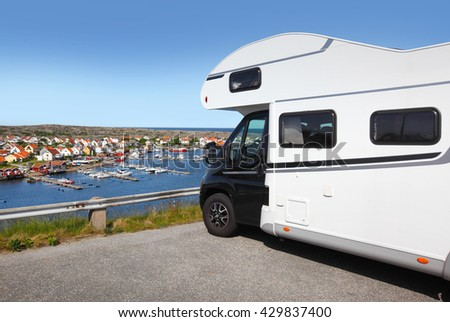 Travelling with a motor home , scenic view  - stock photo