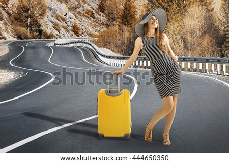 travelling woman - stock photo