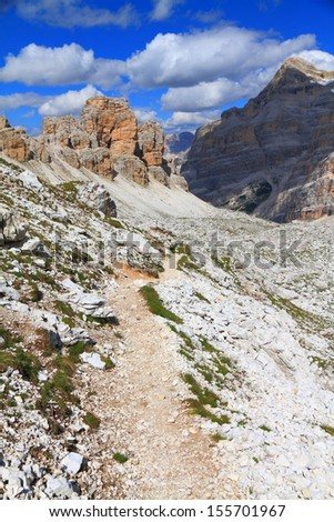 Travenanzes valley, with Tofana massive on the right, Dolomite Alps, Italy