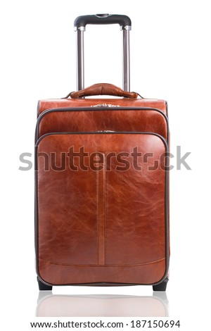 Traver suitcase isolated against a white background - stock photo