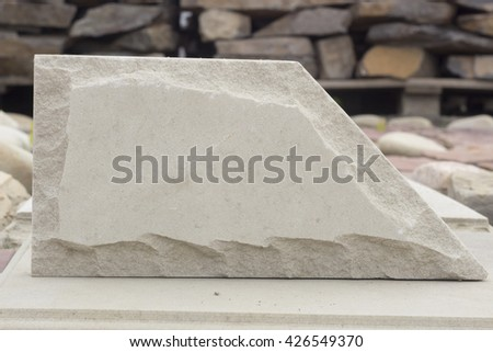 travertine facing stone abstract form with cleavage pastel