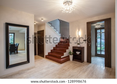 Travertine House Entrance And Hallway Modern Interior