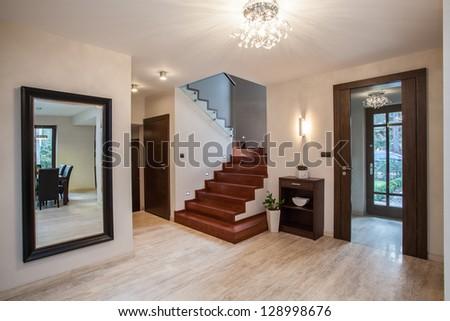 Travertine House Entrance And Hallway Modern Interior