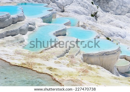 Travertine pools and terraces in Pamukkale, Turkey - stock photo