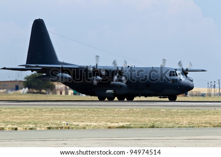 TRAVIS AIR FORCE BASE, CA - JULY 30: US Air Force Lockheed-Martin C-130T Hercules on display during  Airshow on July 30, 2011 at Travis Air Force Base, CA. - stock photo