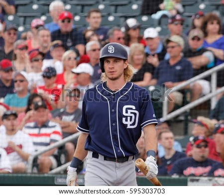 Travis Jankowski center fielder for the San Diego Padres at New Year Park in New Year Arizona USA March 5,2017