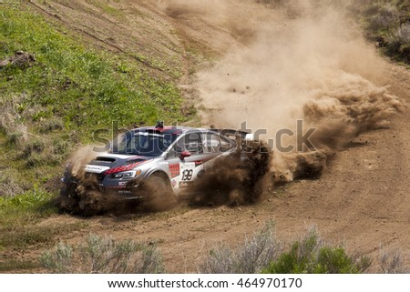 Travis Pastrana and Christian Edstrom driving their Subaru Rally Team car around a corner at Oregon Trail Rally, a National Rally America Championship location, on April 23rd, 2016 in Dufur, OR.