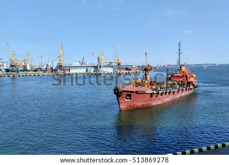 Trawler arriving to harbor, the arrival of a trawler in the port