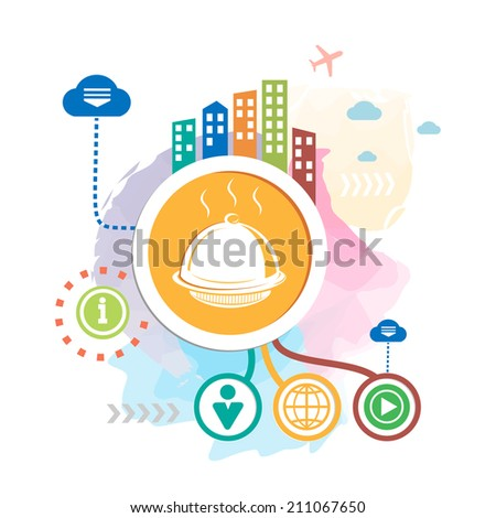 Tray and city on abstract background. Raster version for the web, print, advertising. - stock photo