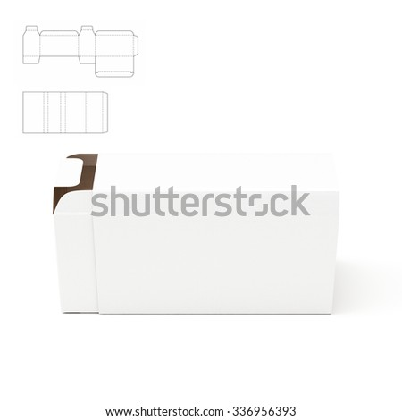 Tray And Tube Box Package with Die Cut Template