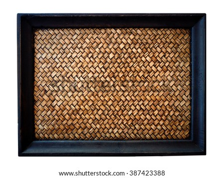 Tray.Bamboo woven tray on white background.Blank wooden tray on table, Template.Bamboo woven tray on white background - stock photo