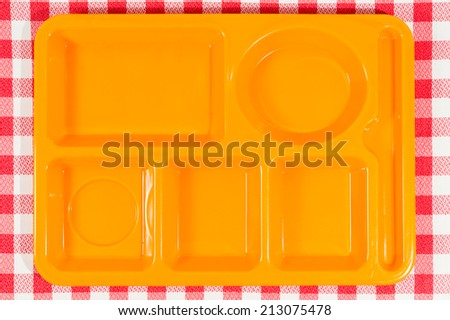Tray dining polycarbonate for use in school canteens - stock photo