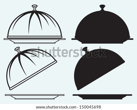 Tray isolated on blue background. Raster version - stock photo