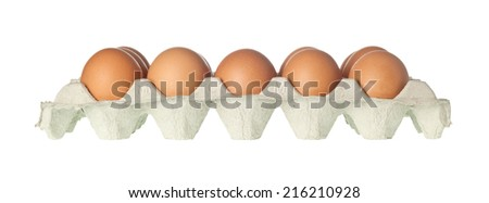 Tray of eggs isolated on white background  - stock photo