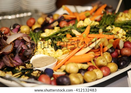 Tray of grilled vegetables for a party.