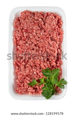 Tray of minced meat on a white background - stock photo