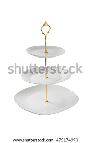 tray or three tier serving tray on a background