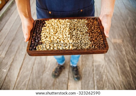 tray with coffee of different levels of roasting. Man holding coffee beans