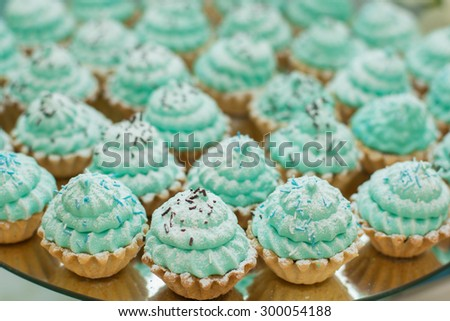 Tray with delicious cakes and macaroon. Elegant sweet table with big cake, cupcakes, cake pops on dinner or event party. Cake pops. Tray with delicious cakes and macaroon - stock photo