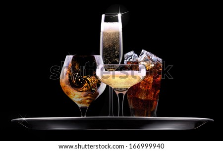 tray with different drinks on black background - champagne, beer, cocktail, wine, brandy, whiskey, scotch, vodka, cognac
