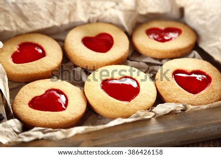 Tray with love cookies, closeup - stock photo