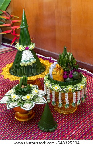Tray with pedestal and thai flowers preparing for Thai wedding culture and ceremony