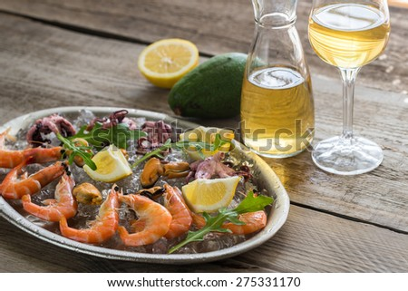 Tray with seafood - stock photo