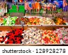 Trays caramel sweets and Bonbons. Retail. - stock photo