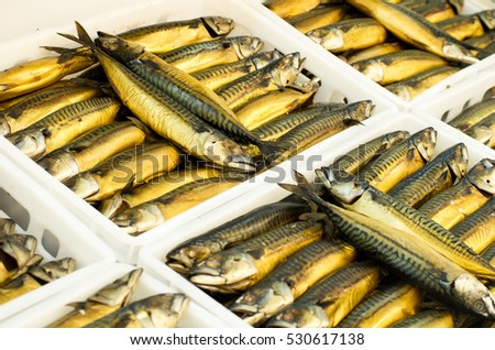 Trays with smoked mackerel scomber in supermarket