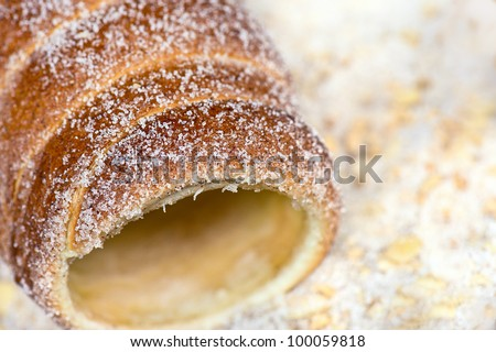 Trdlo - National Czech pastry dough, cooked on an open fire. - stock photo