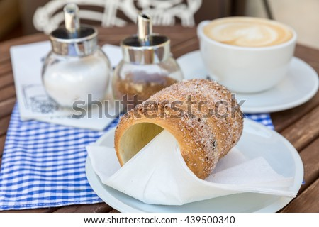 Trdlo or trdelnik - traditional national Czech sweet pastry dough. - stock photo