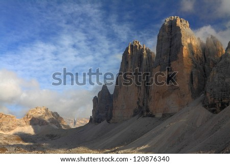 Tre cime di Lavaredo, Dolomite Alps, Italy - stock photo