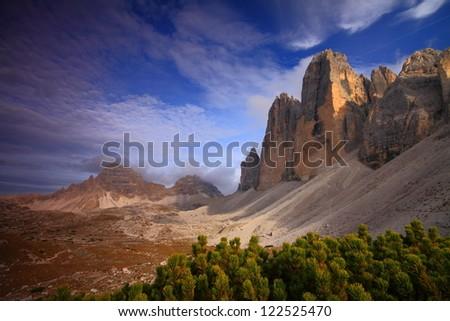 Tre cime di Lavaredo in the afternoon light, Dolomite Alps, Italy - stock photo