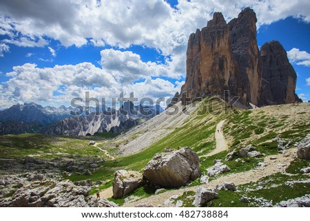 Tre Cime (Three Peaks) di Lavaredo - Famous Mountains in Dolomites, North Italy