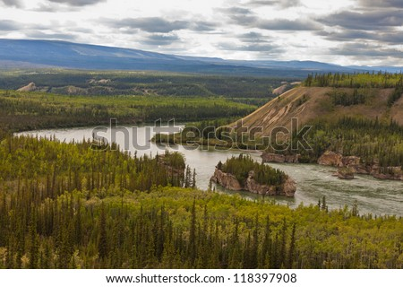 Treacherous Five Finger Rapids of the Yukon River near town of Carmacks, Yukon Territory, Canada - stock photo
