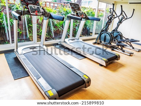 Treadmill machine and Exercise bicycle - stock photo