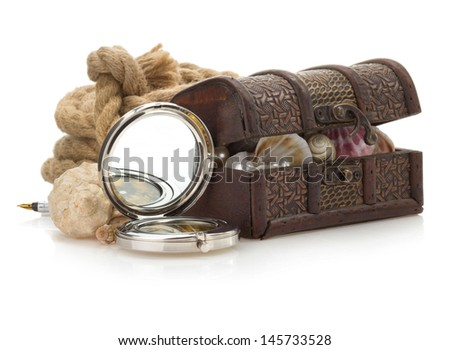 treasure box and sea concept isolated on white background