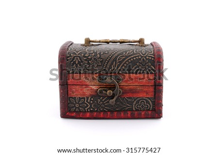 Treasure box on white background