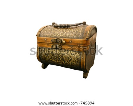 Treasure chest, closed, isolated