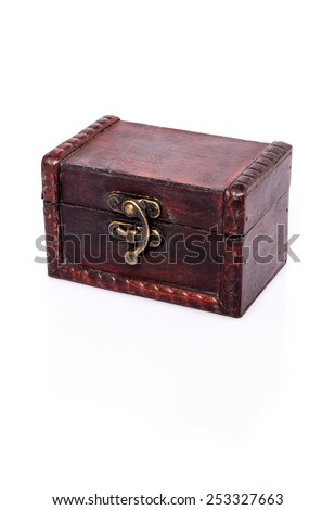 Treasure Chest : Closed wooden chest with reflection and shadows on white background