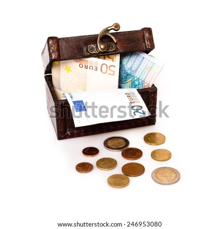 Treasure Chest Europe: Old wooden chest with European currency isolated on white background - stock photo
