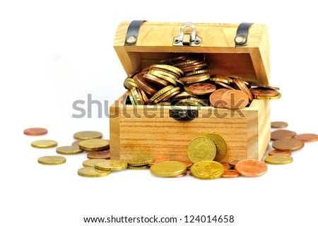 Treasure chest filled with coins completely - stock photo